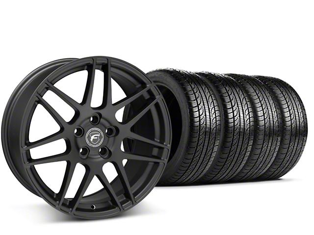 Staggered Forgestar F14 Matte Black Wheel & Pirelli Tire Kit - 19x9/10 (15-17 All)