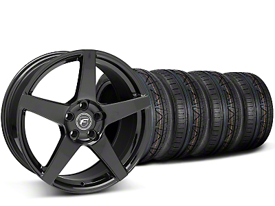 Staggered Forgestar CF5 Piano Black Wheel & NITTO INVO Tire Kit - 19x9/10 (15-18 GT, EcoBoost, V6)