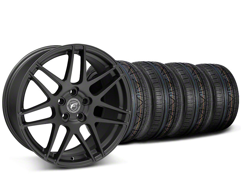 Forgestar F14 Monoblock Matte Black Wheel & NITTO INVO Tire Kit - 19x9 (15-19 GT, EcoBoost, V6)