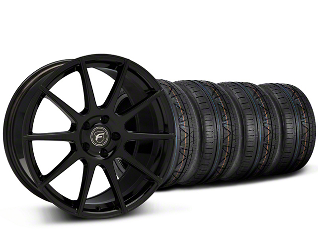 Forgestar CF10 Monoblock Piano Black Wheel & NITTO INVO Tire Kit - 19x9 (15-18 GT, EcoBoost, V6)