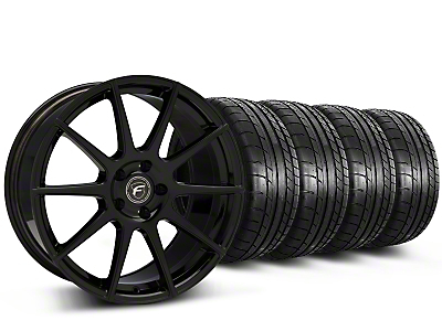 Forgestar CF10 Monoblock Piano Black Wheel & Mickey Thompson Tire Kit - 19x9 (15-18 GT, EcoBoost, V6)