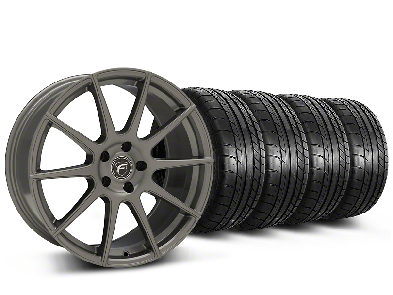 Forgestar CF10 Monoblock Gunmetal Wheel & Mickey Thompson Tire Kit - 19x9 (15-18 GT, EcoBoost, V6)