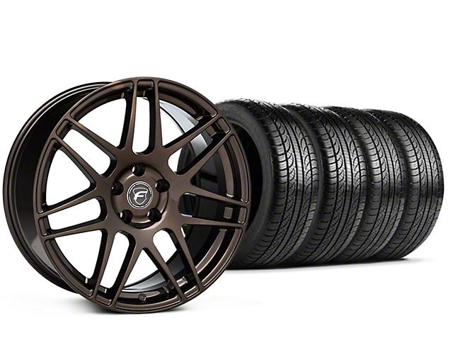 Staggered Forgestar F14 Bronze Burst Wheel & Pirelli Tire Kit - 19x9/10 (15-17 All)