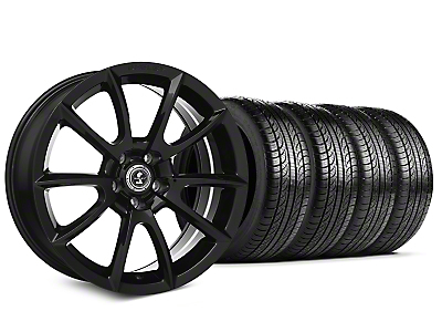 Staggered Shelby Super Snake Style Black Wheel & Pirelli Tire Kit - 19x8.5/10 (15-18 All)