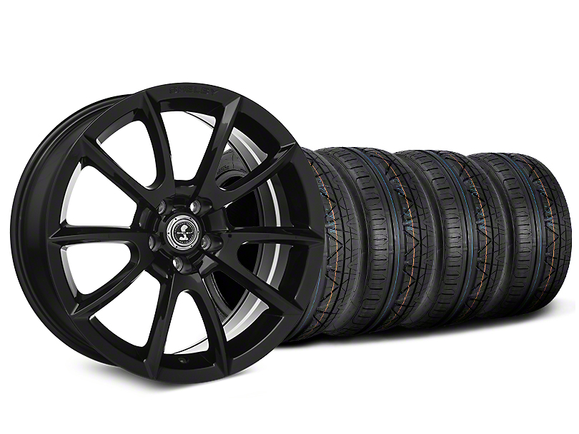 Staggered Shelby Super Snake Style Black Wheel & NITTO INVO Tire Kit - 19x8.5/10 (15-18 All)