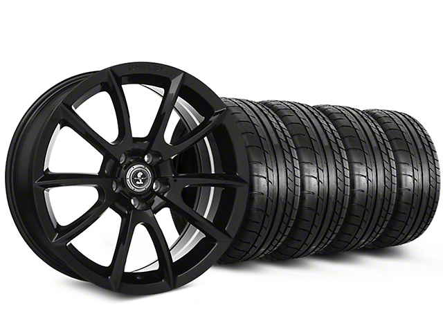 Staggered Shelby Super Snake Style Black Wheel & Mickey Thompson Tire Kit - 19x8.5/10 (15-18 All)