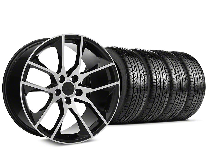 Magnetic Style Black Machined Wheel and Pirelli Tire Kit; 19x8.5 (15-20 GT, EcoBoost, V6)