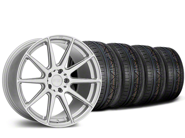 Staggered Niche Essen Silver Wheel & NITTO INVO Tire Kit - 19x8.5/10 (15-18 All)