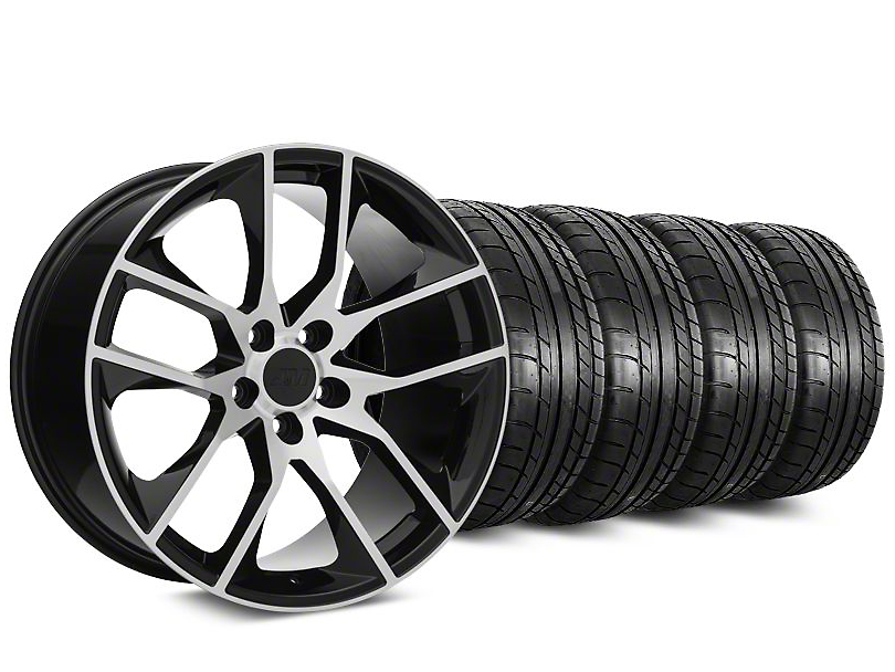 Staggered Magnetic Style Black Machined Wheel & Mickey Thompson Tire Kit - 19x8.5/10 (15-18 GT, EcoBoost, V6)