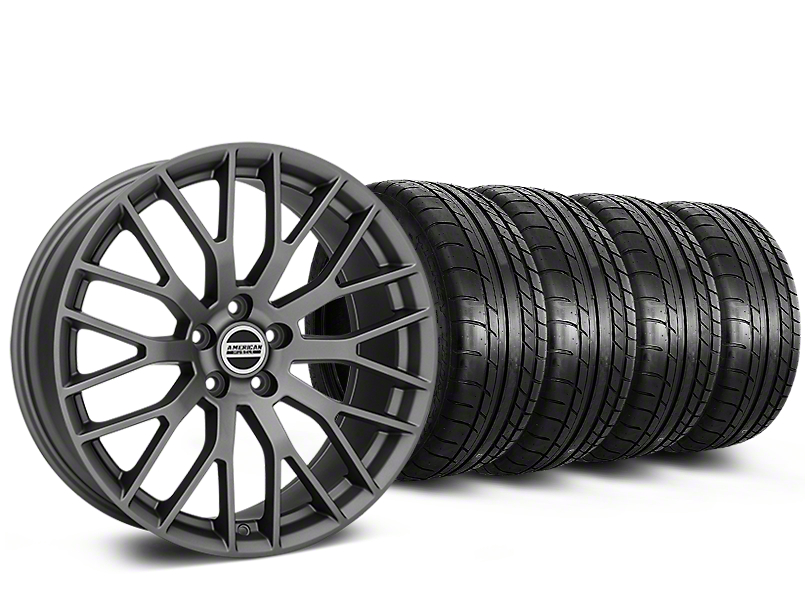 Staggered Performance Pack Style Charcoal Wheel & Mickey Thompson Tire Kit - 19x8.5 (15-19 All)