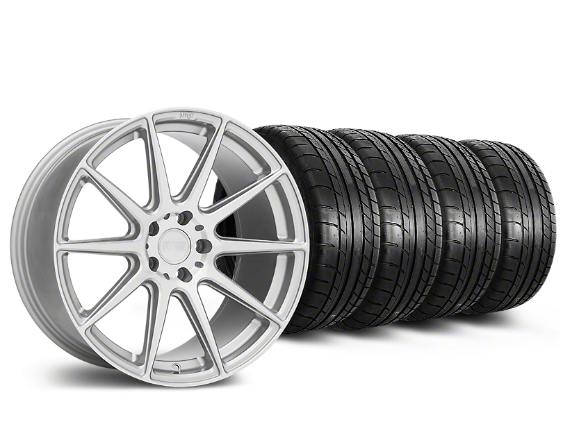 Staggered Niche Essen Silver Wheel and Mickey Thompson Tire Kit; 19x8.5/10 (15-20 GT, EcoBoost, V6)