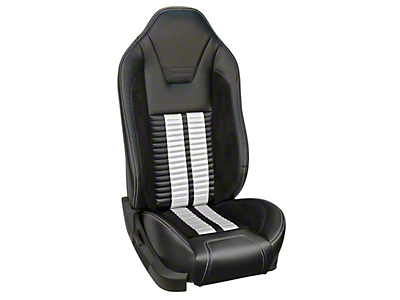 TMI Premium Sport R500 Upholstery & Foam Kit for Airbag Equipped Seats - Black Vinyl & White Stripe/Stitch (05-10 GT, V6)