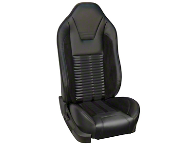 TMI Premium Sport R500 Upholstery & Foam Kit for Airbag Equipped Seats - Black Vinyl & Black Stripe/Stitch (05-10 GT, V6)