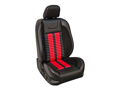 TMI Premium Sport R500 Lowback Style Front Upholstery & Foam Kit for Airbag Equipped Seats - Black Vinyl & Red Stripe/Stitch (05-10 GT Coupe, V6 Coupe)