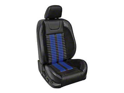 TMI Premium Sport R500 Lowback Style Upholstery Front Only with Airbags - Black Vinyl & Blue Stripe/Stitch (05-10 GT Coupe, V6 Coupe)