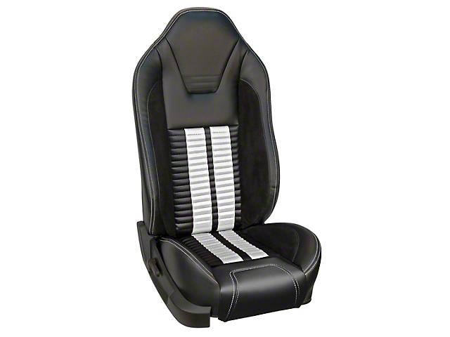 TMI Premium Sport R500 Upholstery & Foam Kit for Airbag Equipped Seats - Black Vinyl & White Stripe/Stitch (11-12 GT)