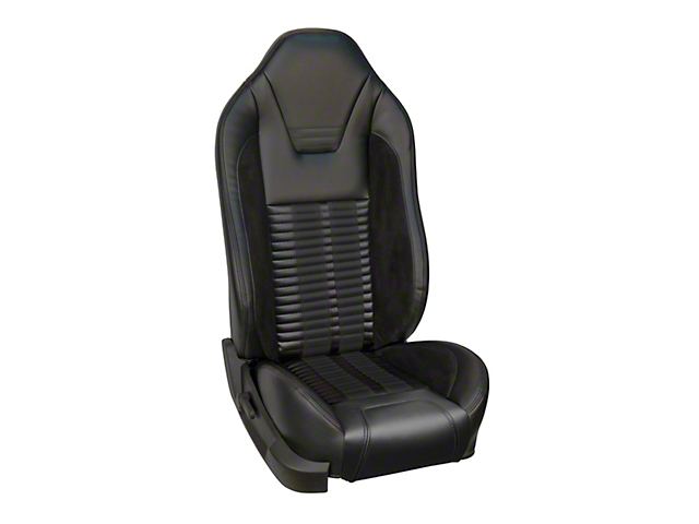 TMI Premium Sport R500 Upholstery & Foam Kit for Airbag Equipped Seats - Black Vinyl & Black Stripe/Stitch (11-12 GT)