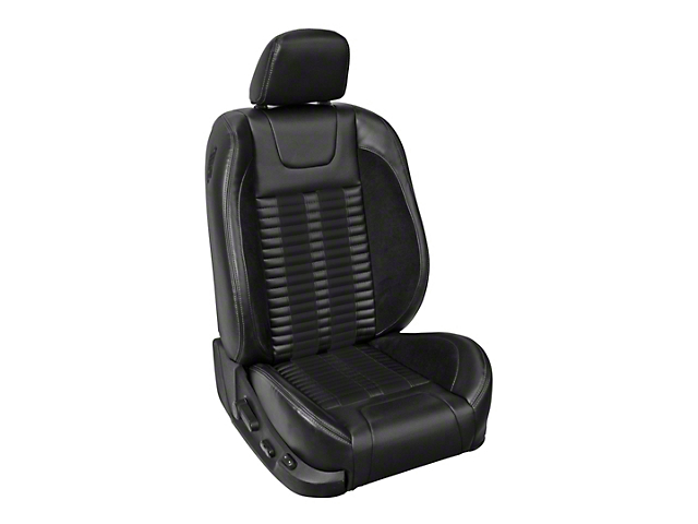 TMI Premium Sport R500 Lowback Style Upholstery Front Only with Airbags - Black Vinyl & Black Stripe/Stitch (11-12 GT Coupe)