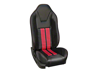 TMI Premium Sport R500 Upholstery & Foam Kit for Airbag Equipped Seats - Black Vinyl & Red Stripe/Stitch (13-14 GT)