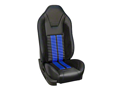 TMI Premium Sport R500 Upholstery & Foam Kit for Airbag Equipped Seats - Black Vinyl & Blue Stripe/Stitch (13-14 GT)