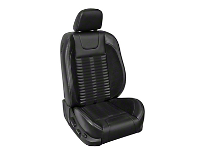 TMI Premium Sport R500 Lowback Style Upholstery Front Only with Airbags - Black Vinyl & Black Stripe/Stitch (13-14 GT Coupe)