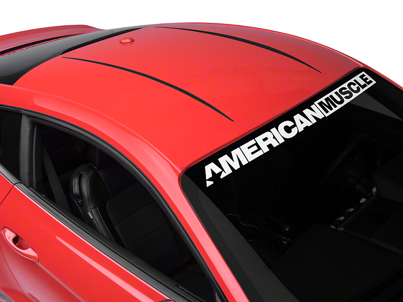 American Muscle Graphics Roof Accent Stripes - Matte Black (15-19 All)