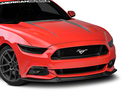 American Muscle Graphics Hood Graphic Decal - Silver (15-17 GT, EcoBoost, V6)