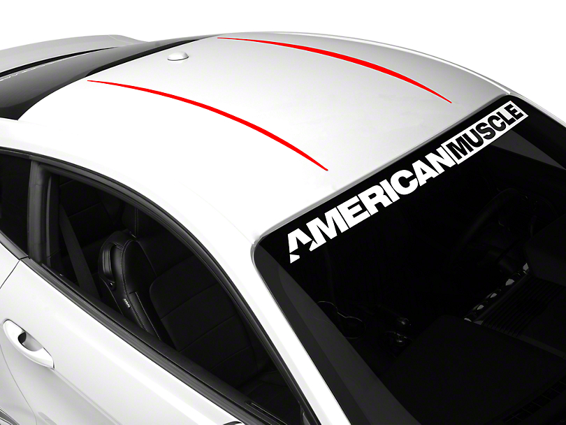American Muscle Graphics Roof Accent Stripes - Red (15-18 All)