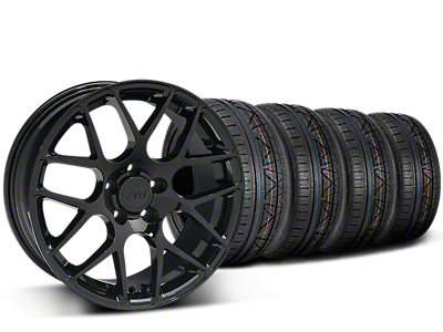 Staggered AMR Black Wheel & NITTO INVO Tire Kit - 19x8.5/11 (15-18 GT, EcoBoost, V6)