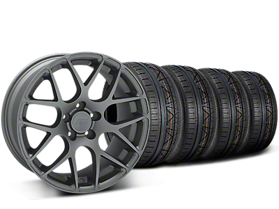 Staggered AMR Charcoal Wheel & NITTO INVO Tire Kit - 19x8.5/11 (15-18 GT, EcoBoost, V6)