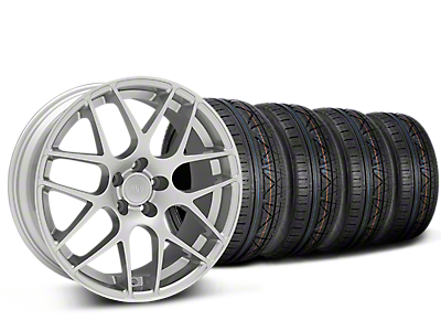 Staggered AMR Silver Wheel & NITTO INVO Tire Kit - 19x8.5/11 (15-19 GT, EcoBoost, V6)