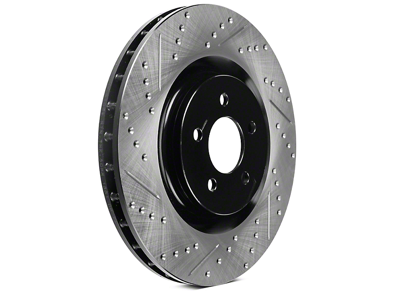 StopTech Sport Cross-Drilled & Slotted Rotors - Front Pair (11-14 GT Brembo; 07-12 GT500; 12-13 Boss 302)