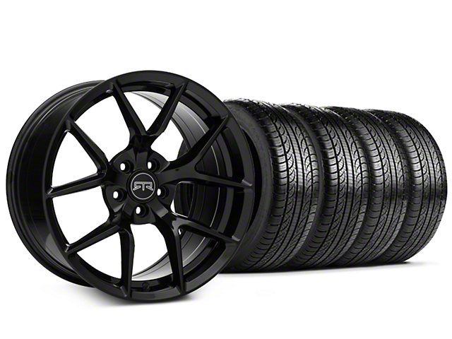 Staggered RTR Tech 5 Black Wheel and Pirelli Tire Kit; 19x9.5/10.5 (05-14 All)
