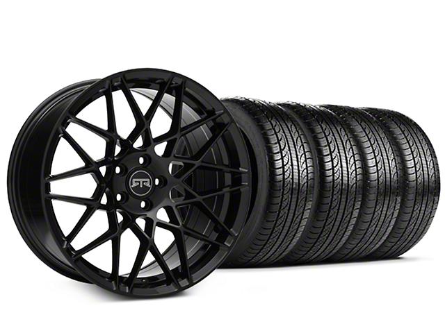 Staggered RTR Tech Mesh Black Wheel & Pirelli Tire Kit - 19x9.5/10.5 (05-14 Standard GT, V6)