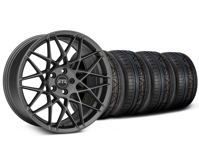 Staggered RTR Tech Mesh Charcoal Wheel and NITTO INVO Tire Kit; 19x9.5/10.5 (05-14 Standard GT, V6)