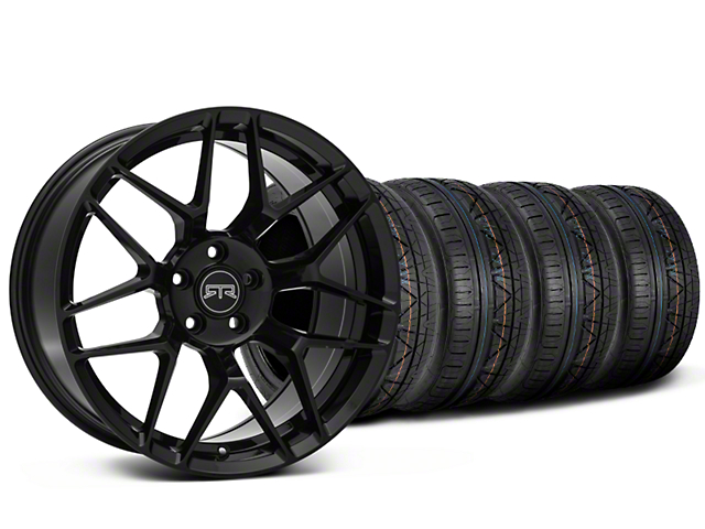 Staggered RTR Tech 7 Black Wheel and NITTO INVO Tire Kit; 20x9.5/10.5 (05-14 All)