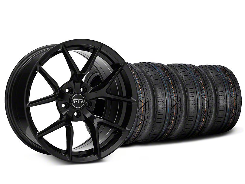 Staggered RTR Tech 5 Black Wheel and NITTO INVO Tire Kit; 20x9.5/10.5 (05-14 All)