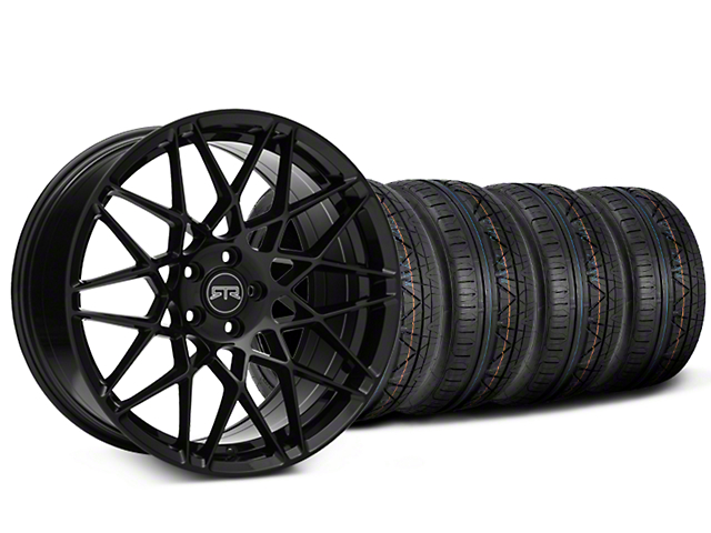 Staggered RTR Tech Mesh Black Wheel & NITTO INVO Tire Kit - 20x9.5/10.5 (05-14 Standard GT, V6)
