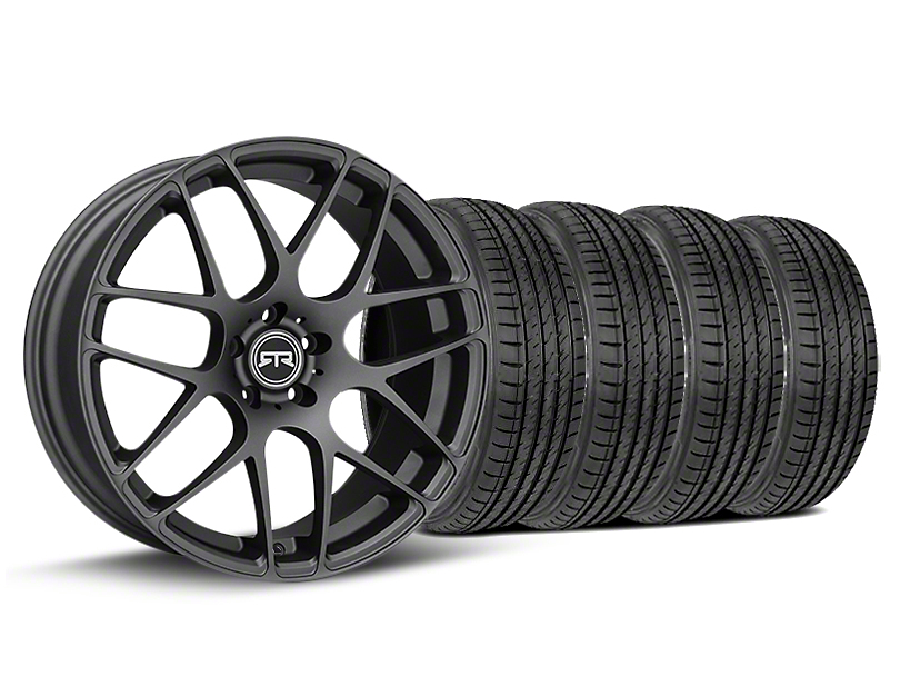 Staggered RTR Charcoal Wheel & Sumitomo Tire Kit - 19x8.5/10 (15-19 GT, EcoBoost, V6)