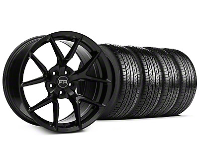 Staggered RTR Tech 5 Black Wheel & Pirelli Tire Kit - 19x9.5/10.5 (15-19 GT, EcoBoost, V6)