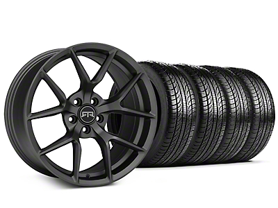 Staggered RTR Tech 5 Charcoal Wheel & Pirelli Tire Kit - 19x9.5/10.5 (15-18 GT, EcoBoost, V6)