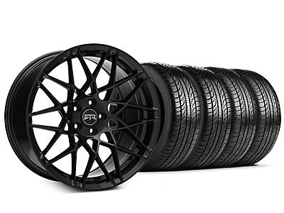 Staggered RTR Tech Mesh Black Wheel & Pirelli Tire Kit - 19x9.5/10.5 (15-18 GT, EcoBoost, V6)