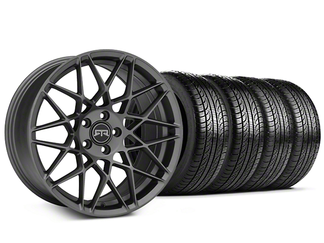 Staggered RTR Tech Mesh Charcoal Wheel & Pirelli Tire Kit - 19x9.5/10.5 (15-18 All)