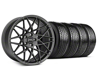 Staggered RTR Tech Mesh Charcoal Wheel & Pirelli Tire Kit - 19x9.5/10.5 (15-18 GT, EcoBoost, V6)