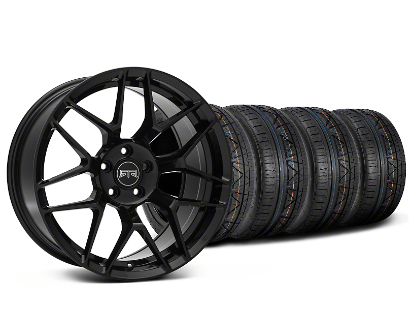 Staggered RTR Tech 7 Black Wheel & NITTO INVO Tire Kit - 19x9.5/10.5 (15-18 GT, EcoBoost, V6)