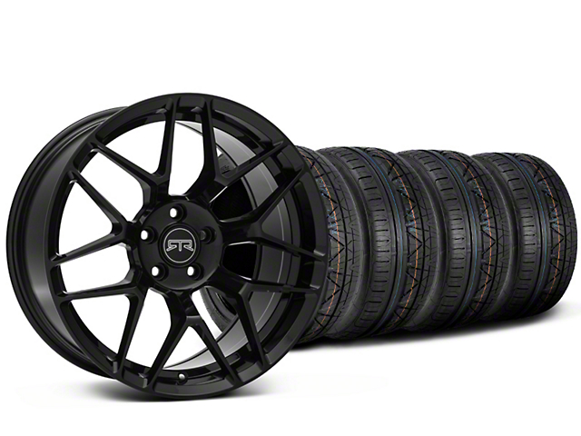 Staggered RTR Tech 7 Black Wheel & NITTO INVO Tire Kit - 19x9.5/10.5 (15-19 GT, EcoBoost, V6)