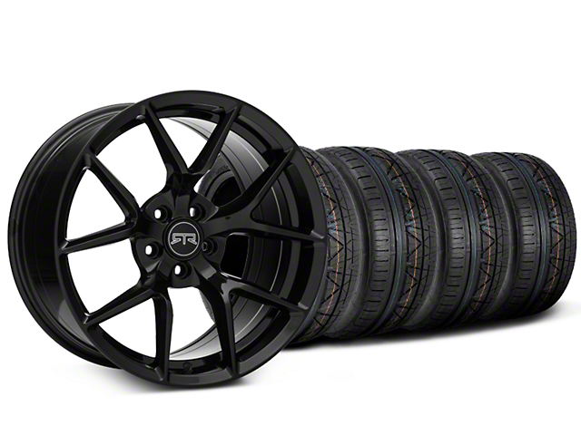 Staggered RTR Tech 5 Black Wheel & NITTO INVO Tire Kit - 19x9.5/10.5 (15-19 GT, EcoBoost, V6)