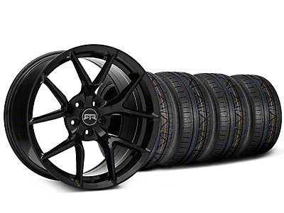 Staggered RTR Tech 5 Black Wheel & NITTO INVO Tire Kit - 19x9.5/10.5 (15-18 GT, EcoBoost, V6)