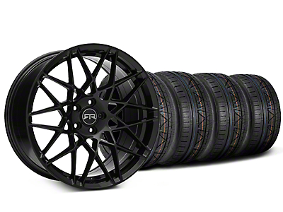 Staggered RTR Tech Mesh Black Wheel & NITTO INVO Tire Kit - 19x9.5/10.5 (15-18 GT, EcoBoost, V6)