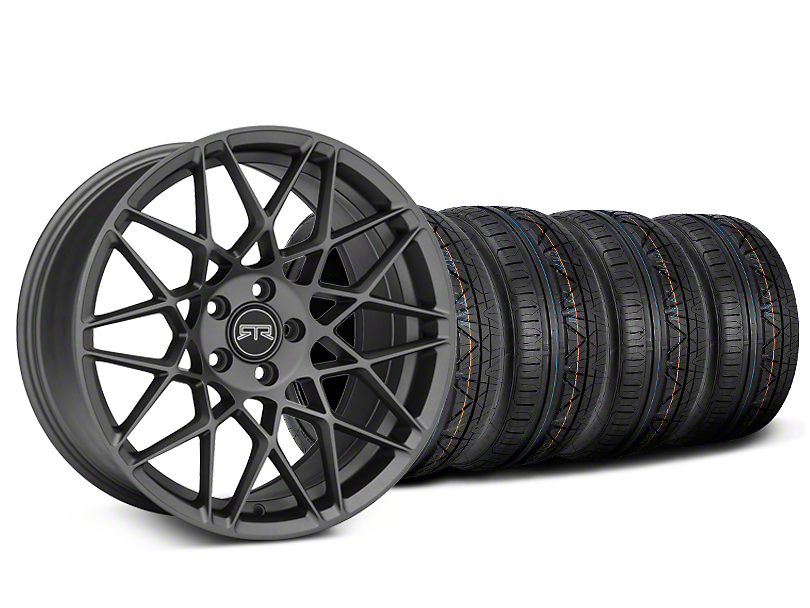 Staggered RTR Tech Mesh Charcoal Wheel & NITTO INVO Tire Kit - 19x9.5/10.5 (15-18 GT, EcoBoost, V6)